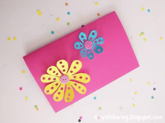 cartão 3D com flores para dia das mães