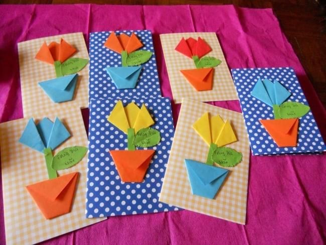 cartão dia das mães com flor de dobradura