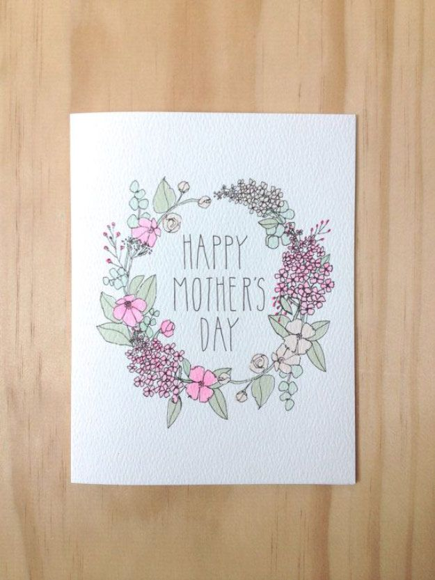 cartão desenhado para dia das mães