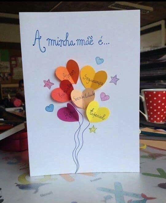 cartão fácil de dia das mães