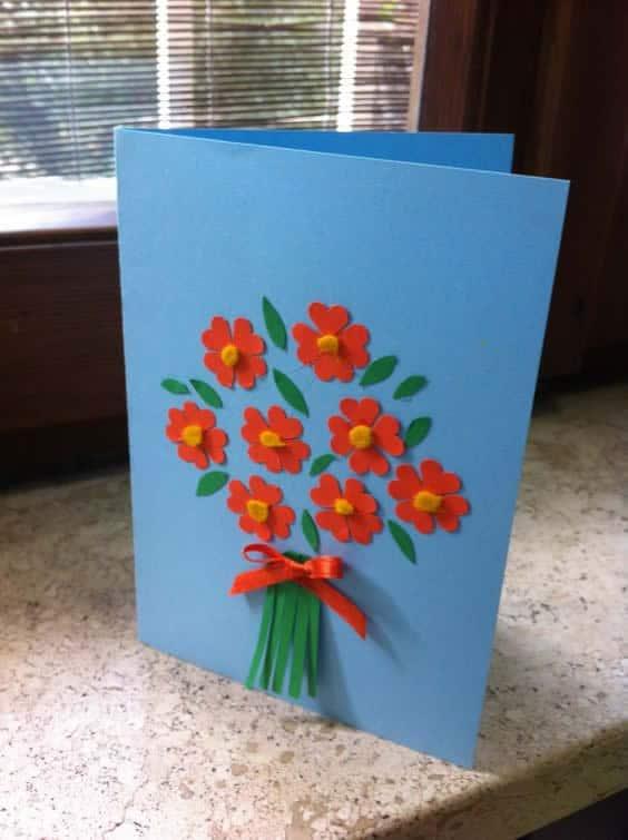cartão com flores simples dia das mães