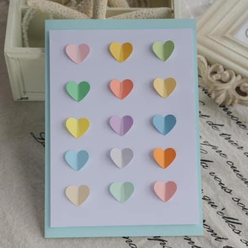 cartão com corações 3D dia das mães