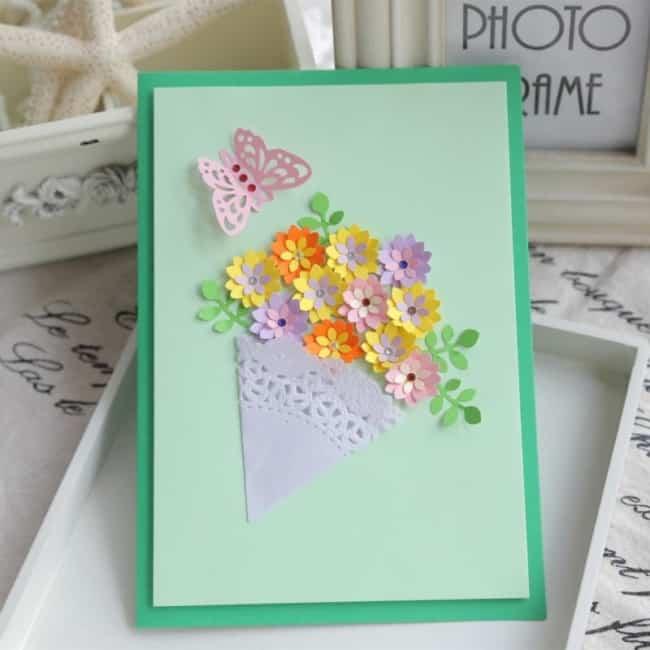 cartão com capa 3D para mãe