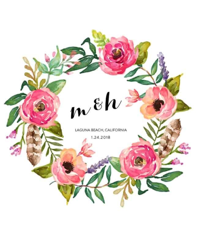Brasão de casamento com flor