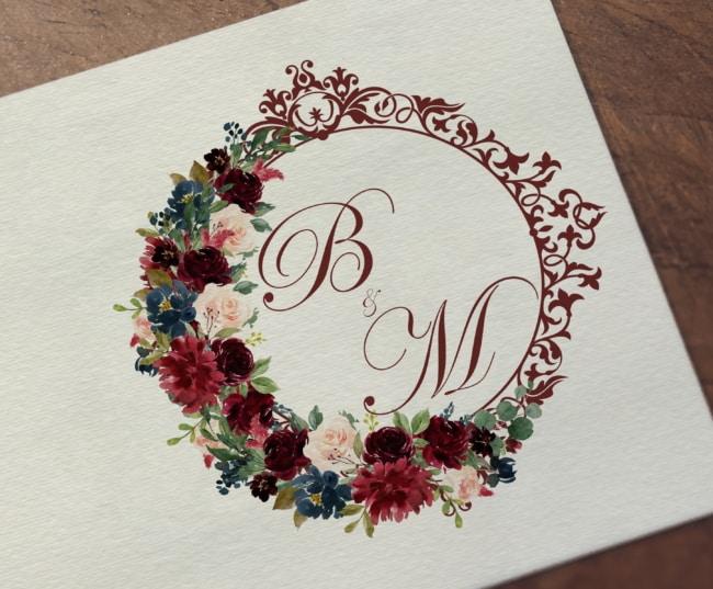 Brasão de casamento marsala