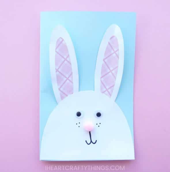 Cartão de páscoa artesanal coelhinho com pintas
