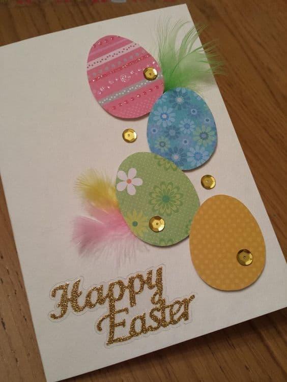 Cartão de páscoa artesanal com gliter e lantejola