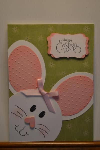 Cartão de páscoa artesanal com lacinho