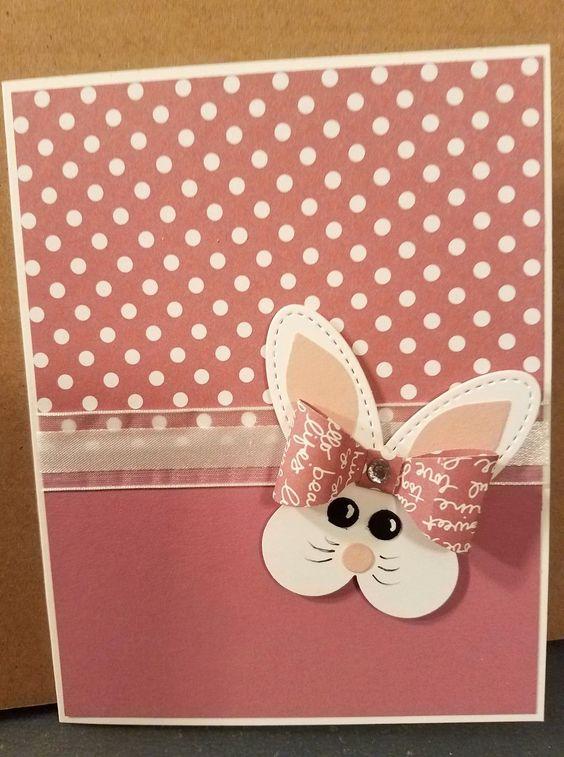 Cartão de páscoa artesanal de bolinhas com lacinho