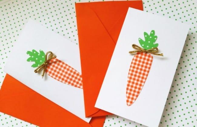 Cartão de páscoa artesanal de cenourinha