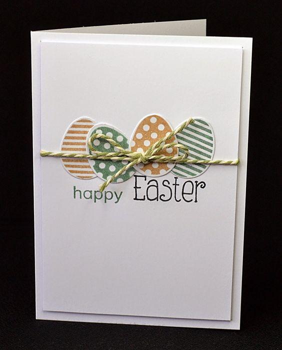 Cartão de páscoa artesanal de ovos com cordinha