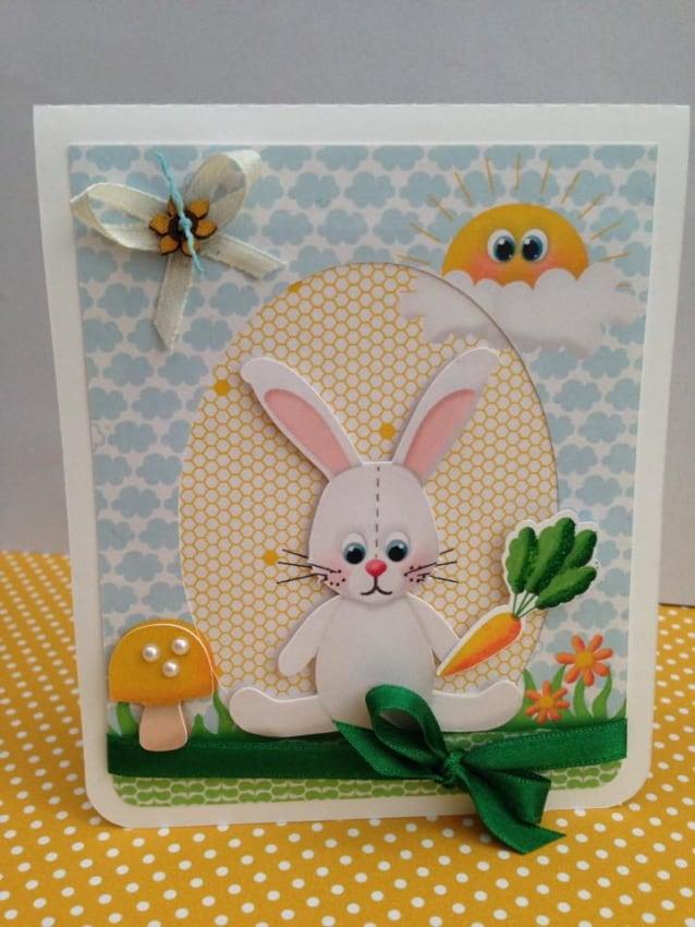 Cartão de páscoa artesanal do coelhinho com cenoura