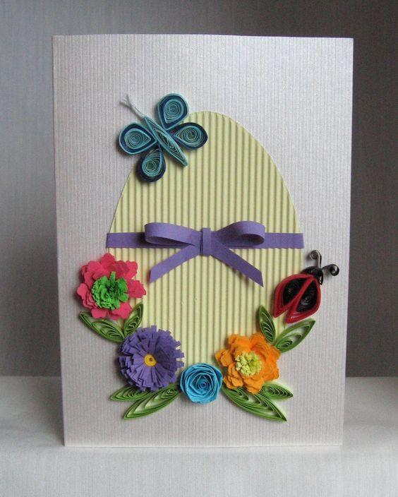 Cartão de páscoa artesanal flores e laço