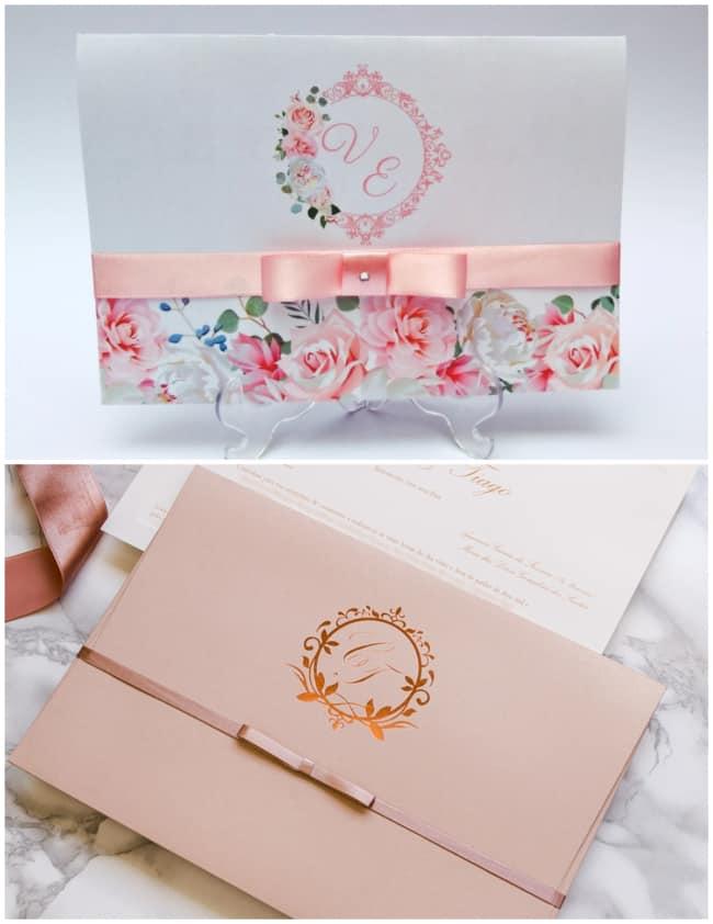 Convite para decoração de casamento rose