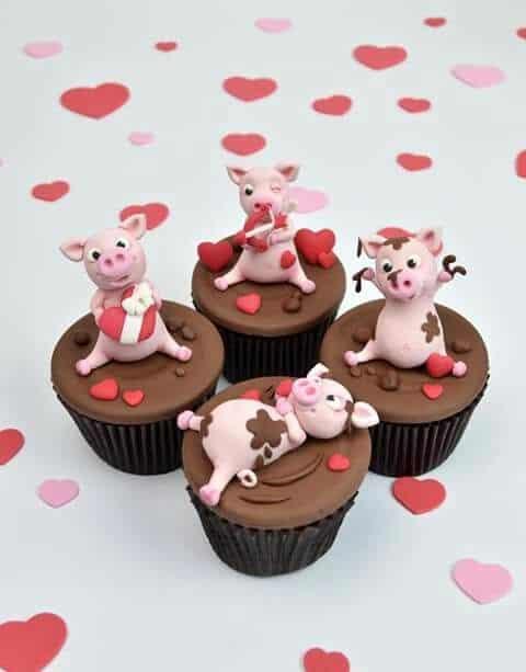 Cupcake fazendinha com porquinhos