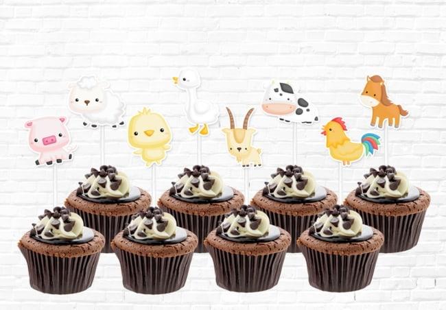 Cupcakes de chocolate simples fazendinha