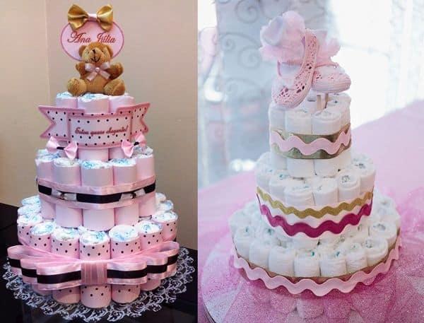 Duas ideias de bolos de fraldas rosas femininos