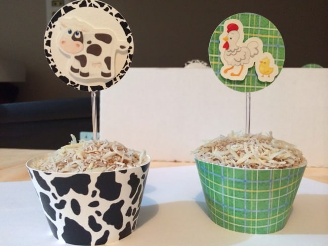 Duas ideias de cupcakes fazendinha com wrapper