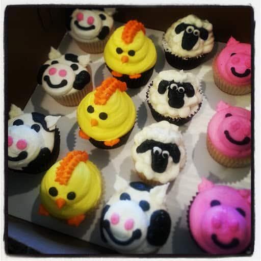 Estilo de cupcake fazendinha de bichinhos
