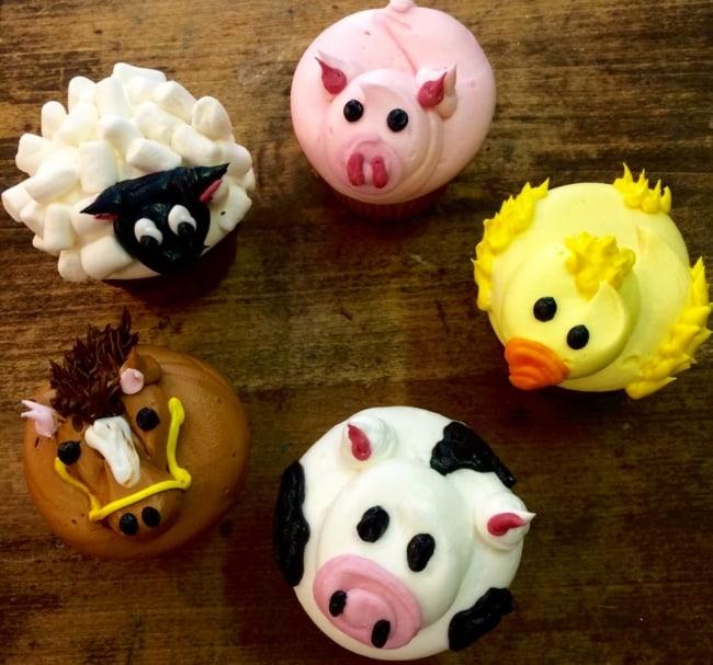 Estilo de cupcake fazendinha de bichos