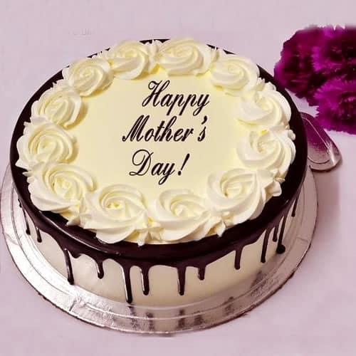 Homenagem para o dia das mães bolo branco