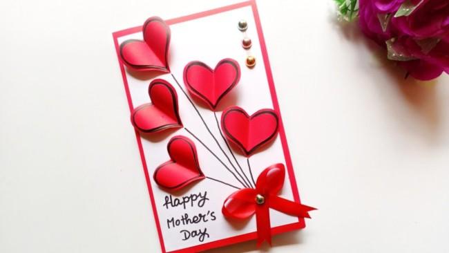 Homenagem para o dia das mães cartão de coração