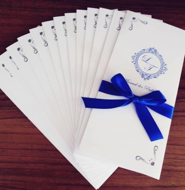 Manual dos padrinhos cor azul royyal