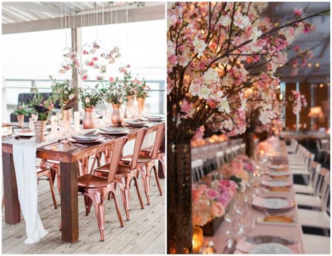 Mesa dos convidados rose