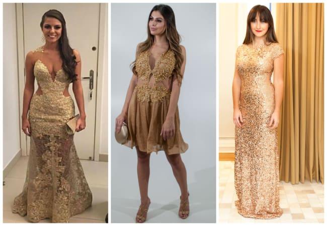 Montagem de vestidos dourados de madrinhas