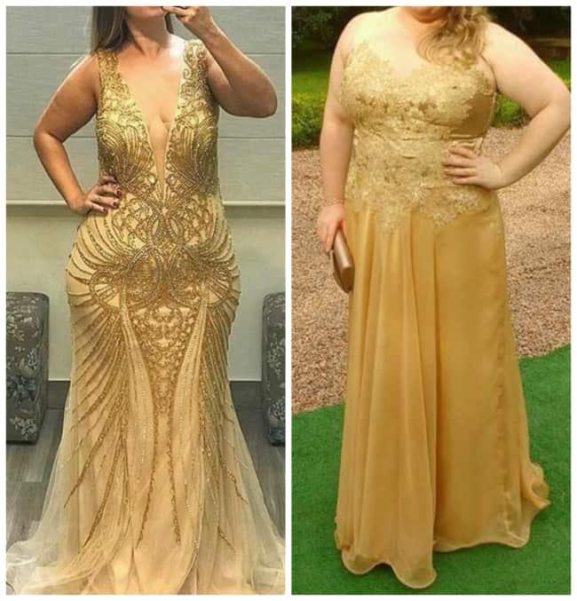 Vestido de Madrinha Dourado Plus Size com Detalhes
