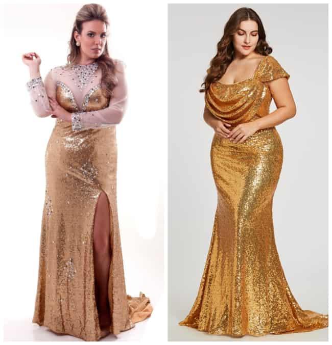 Vestido de Madrinha Dourado Plus Size