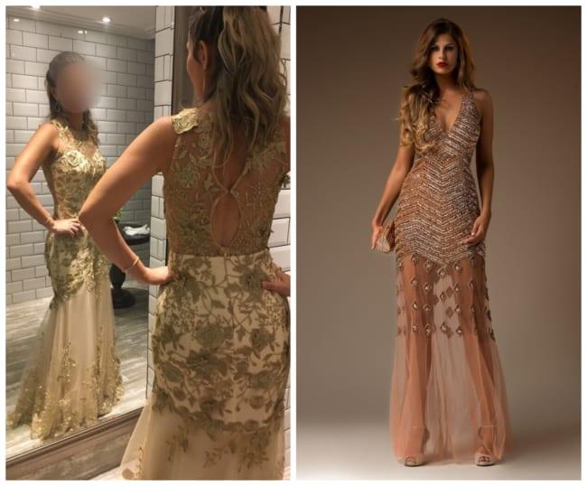 Vestido de Madrinha Dourado com Transparência e Renda
