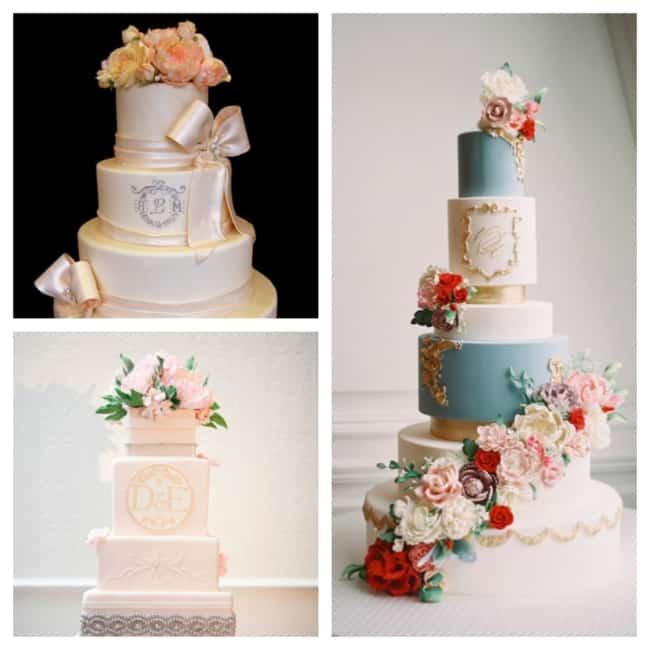bolo de casamento com monograma