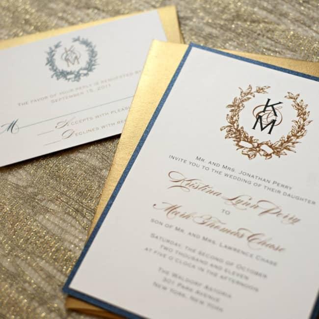 convite com Brasão de casamento