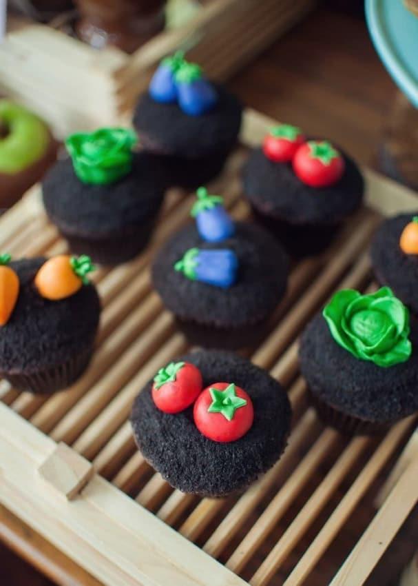 cupcakes criativos de plantação para festa fazendinha