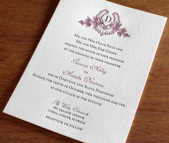 ideia de convite com Brasão de casamento