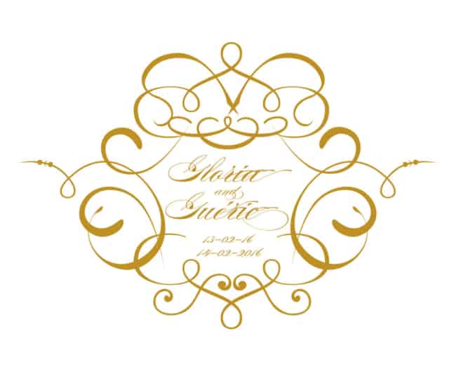 lindo Brasão de casamento dourado