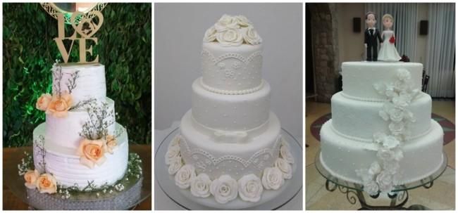 bolo de casamento branco de 3 andares