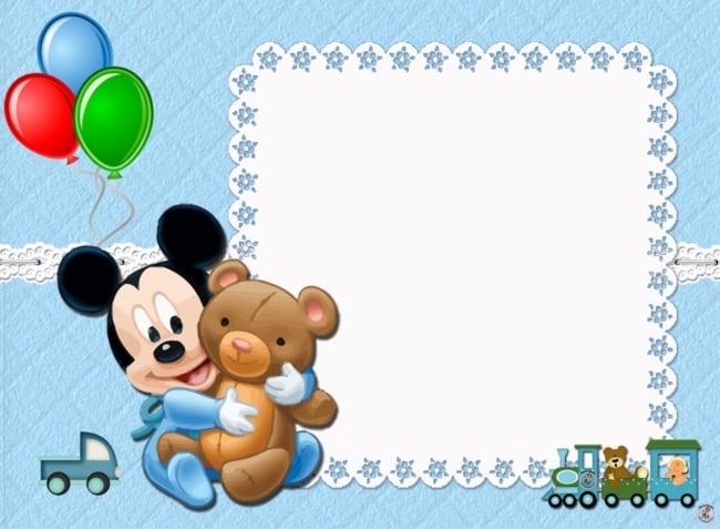 Convite do Mickey baby azul claro