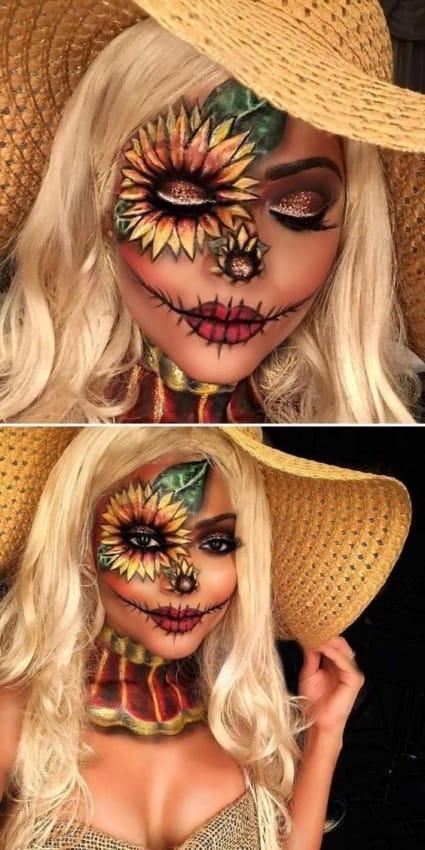 Inspiração de make de girassol para halloween