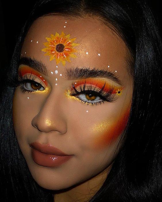 Maquiagem laranja e amarela para combinar com girassol
