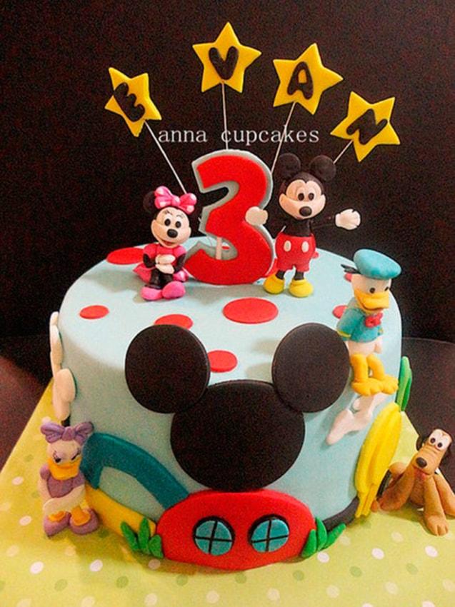 Modelo de bolo de pasta americana do Mickey