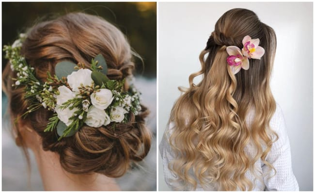 Penteados para mãe da noiva com flores