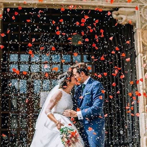 Saída dos noivos com petalas de rosa