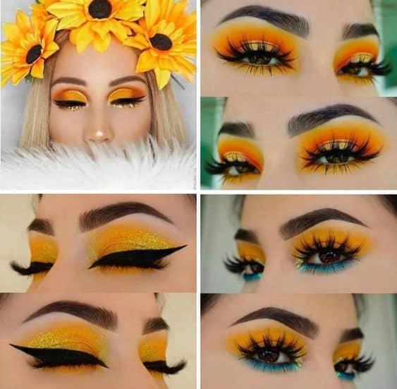 Sombra amarela combina muito com fantasia de girassol
