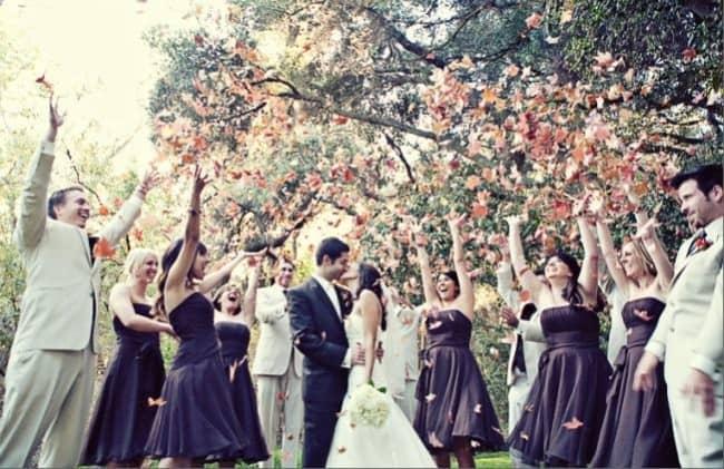 ideias de Saída dos noivos com folhas