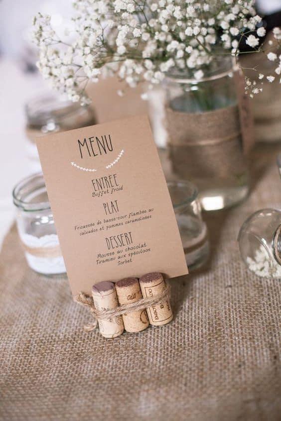 decoração DIY para mesa de casamento rústico