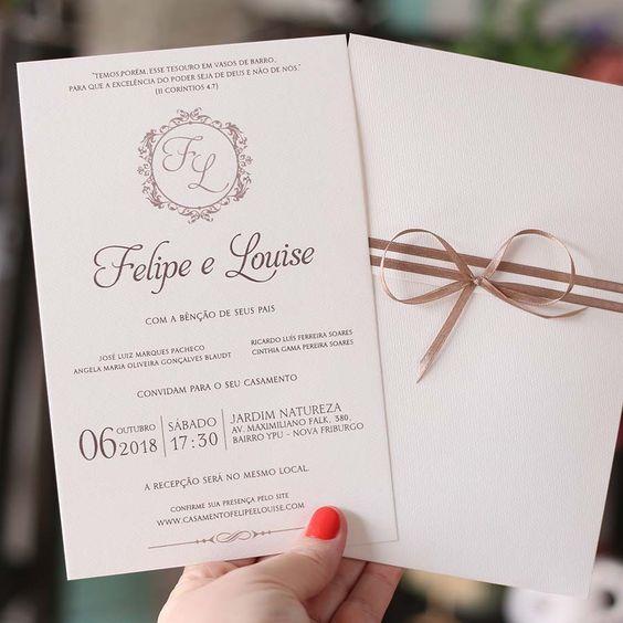 convite de casamento elegante com envelope simples