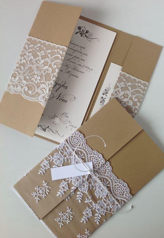 convite de casamento artesanal e simples
