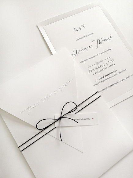 modelo de convite elegante e simples para casamento